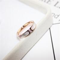潮人装饰戒指环食指戒指女镀玫瑰金贝壳钛钢戒指