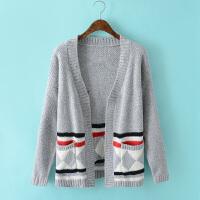 韩版秋冬季几何印花针织开衫宽松大码中长毛衣纯色长袖外套BL