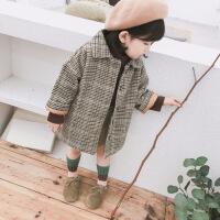 女童加棉呢子大衣中�L款����加厚格子外套�n版千�B格上衣冬季新品