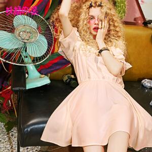 【秒杀价:158】妖精的口袋新款可调节吊带荷叶边a字裙摆短袖连衣裙女