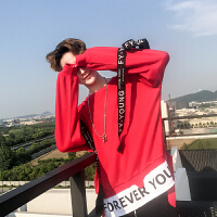 欧美高街hiohop嘻哈套头卫衣男秋季韩版潮牌宽松织带长袖