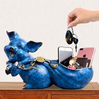玄关钥匙收纳盒进门口放钥匙摆件中式客厅门厅鞋柜装饰品