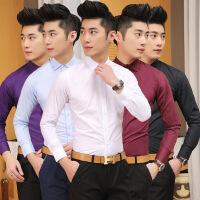 秋季男士长袖衬衫韩版修身纯色休闲青年职业正装衬衣发型师潮