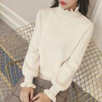 白色2018新款韩版木耳边秋冬宽松毛衣打底衫学生半高领针织衫女厚 米