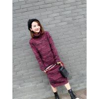秋冬新款韩版高领女套头毛衣宽松中长款包臀加厚显瘦针织衫连衣裙