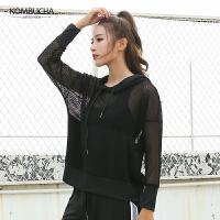 【女神特惠价】Kombucha运动健身长袖T恤女士网孔透气连帽抽绳速干透气运动跑步上衣JCCX418