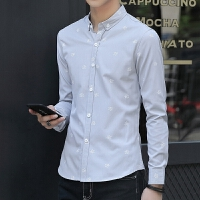 新款2018男士长袖男士个性长袖衬衫韩版修身衬衫男长袖青年男潮流