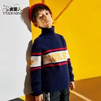 【2件3折到手价:116.7元】小虎宝儿男童毛衣套头2019秋冬新款韩版洋气儿童高领针织上衣加厚