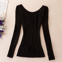 保暖内衣低领黑肉色打底衫秋衣女美体紧身长袖舞蹈衣上衣 黑色 18313花边 均码