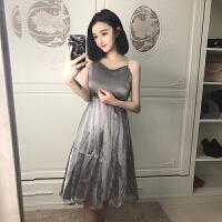 夏季新款纯色性感女神露背波西米亚沙滩裙闪亮吊带连衣裙