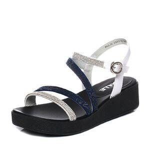 Belle/百丽2017夏专柜同款绒布女凉鞋BNL34BL7