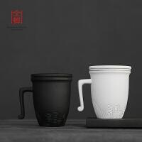 过滤带盖功夫茶杯创意杯子简约大容量家用水杯套装