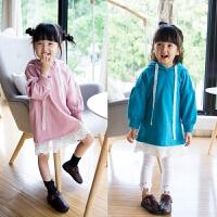 女童卫衣连衣裙韩版秋季新款长袖连帽蕾丝边公主百搭潮裙子