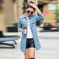 韩版春秋新款牛仔衣外套女外套破洞韩版修身休闲中长款上衣风衣潮