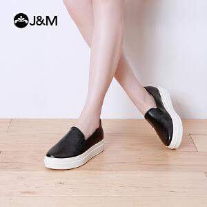jm快乐玛丽乐福鞋春季欧美平底套脚厚底纯色女鞋增高休闲鞋82017W