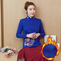 中国风民族风女装复古绣花T恤加绒加厚打底衫女冬季保暖长袖上衣