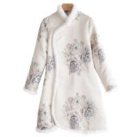 旗袍冬款加厚少女款长袖刺绣小香风唐装中长款少女夹棉袄加厚兔毛 白色
