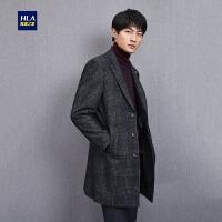 HLA/海澜之家格纹款西装领大衣保暖毛呢大衣外套男