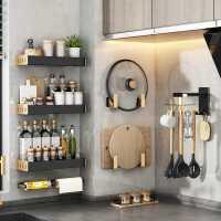 厨房置物架壁挂式免打孔家用调味料用品大全刀架挂架多功能收纳架