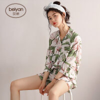 春夏季纯棉女士睡衣甜美少女开衫家居服时尚七分袖全棉套装 D1265 主图款