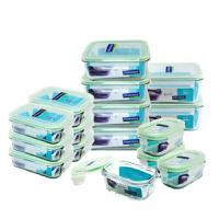 Glasslock 三光云彩韩国进口钢化玻璃保鲜盒便当饭盒收纳盒彩盒套装十六件套-GL11