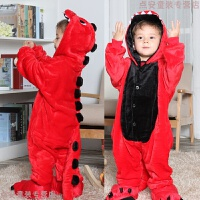 动物卡通连体睡衣珊瑚绒法兰绒小恐龙衣服儿童男孩女童宝宝可爱冬 红色 红恐龙