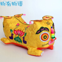 物有物语 布老虎枕头 手工刺绣虎头枕祝福布传统中国婴幼儿宝宝老北京百天生日纪念品礼物