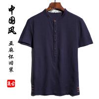 中国风男装夏棉麻薄款短袖T恤宽松上衣亚麻衬衫大码胖子肥佬复古