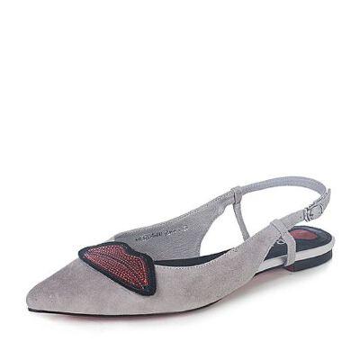 BASTO/百思图2017新款夏季羊皮优雅尖头亮片红唇女皮凉鞋2046DBH7