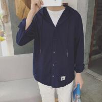 韩国东大门春季薄款日系潮流连帽长袖衬衫青年休闲外套上衣男