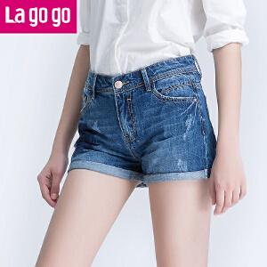 Lagogo2017夏季新款纯棉百搭牛仔短裤女高腰直筒短款卷边薄裤子
