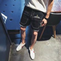日系工装牛仔短裤男士加肥加大码五分裤夏季多口袋青年修身直筒裤