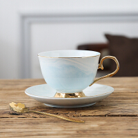 陶瓷咖啡杯欧式简约拉花咖啡杯碟花茶杯套装英式下午茶茶具 {210ML}黄金蓝 杯+碟+勺