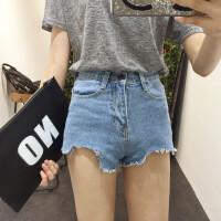 显高显瘦原宿风短裤女bf韩国aa超短裤款撕边流苏学生高腰牛仔热裤