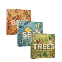 【全店300减110】英文原版进口Trees/Seas/Bees: A lift-the-flap eco book 树