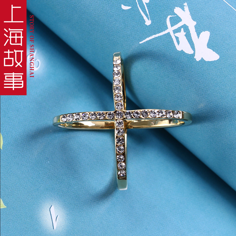 新款韩版水钻X扣气质长丝巾扣超美简约百搭通用围巾空姐方巾扣