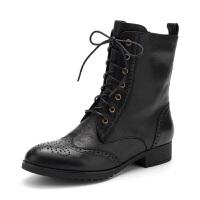 FONDBERYL/菲伯丽尔牛皮镂空粗跟职业休闲女短靴FB64116937