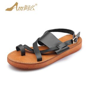【17新品】阿么牛皮套趾低跟罗马凉鞋女交叉绑带平底学生鞋子潮
