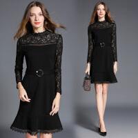 秋冬新款打底修身鱼尾连衣裙中长款蕾丝拼接长袖气质