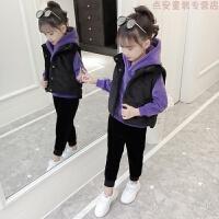 女童冬装三件套2018新款儿童秋装金丝绒套装加绒加厚大童装洋气潮