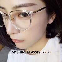 复古眼镜框女韩版潮小脸眼镜架男圆形全框平光眼镜透明色眼睛Q
