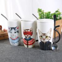 汉馨堂 马克杯 韩版超大容量猫咪陶瓷杯家用办公室喝水杯带盖勺吸管可爱杯子