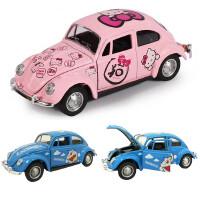 经典大众粉色老爷车甲壳虫盒装合金回力汽车模型玩具
