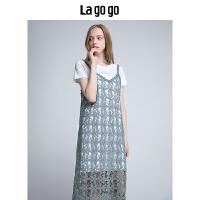 【5折价180】Lagogo/拉谷谷2018年夏季新款时尚小清新连衣裙两件套HALL815F32