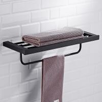 黑色毛巾架304不锈钢卫生间置物架折叠浴巾架收纳架浴室挂件
