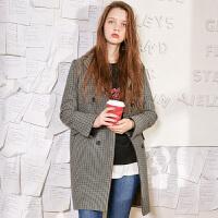 冬装新品 复古千鸟格呢大衣宽松羊毛呢子外套D742883D00