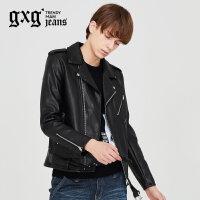gxg.jeans男装秋男士黑色时尚青年黑色PU革皮夹克外套潮63621111