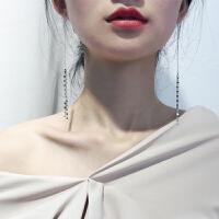 森系显脸瘦的耳环韩国网红女耳线气质流苏耳坠长款吊坠 925银爱心流苏耳线 一对