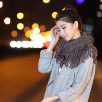 韩国秋冬季保暖女学生韩版冬天毛线围脖套头百搭原宿流苏围巾厚潮