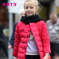【3件6折后到手价:95.4元】米奇丁当童装2018冬季新款女童百搭长袖外套中大童长款妮子大衣潮